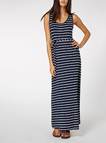 Navy Nautical Belted Maxi Dress