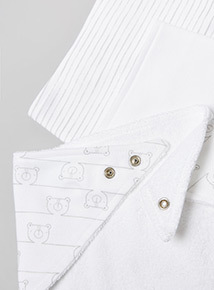 3 Pack White Printed Hanky Bibs (one size)