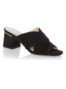 Black Cross Over Strap Sandals
