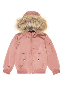 Pink Hooded Bomber Jacket