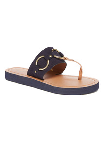 Navy Metal Ring Detail Flip flops