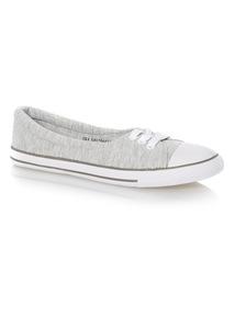 Grey Low Lace Up Canvas Shoes