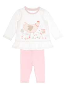Girls White Hen Jersey Set (0 - 12 months)