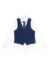 Navy Occasion Shirt With Waistcoat And Tie (3 - 14 years)