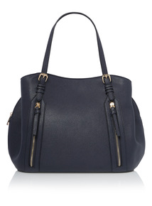 Navy Grained Tote