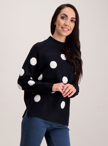 Navy Blue Spotted Jumper