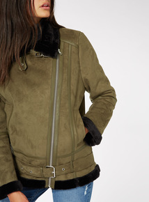 Online Exclusive Shearling Biker Jacket