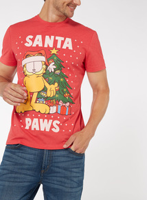 Red Garfield Christmas Tee