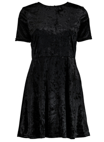 Online Exclusive PETITE Black Velvet Skater Dress