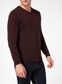 Oxblood V Neck Jumper