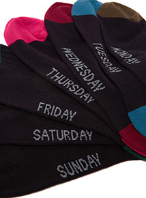 7 Pack Black Days of the Week Heel and Toe Stay Fresh Socks