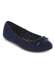 Navy Round Toe Ballerina Shoes
