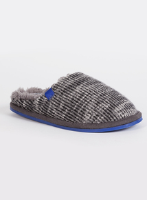 Grey Ribbed Mule Slipper