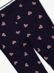 Navy Heart Print Leggings (5- 14 years)