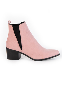 Pink Western Block Heeled Boots
