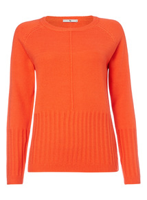 Orange Rib Hem Jumper