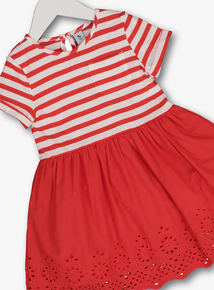 d4f7a1686006 Red   White Striped   Embroidered Dress (9 months - 6 years)