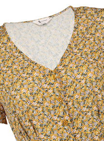 Online Exclusive PETITE Mustard Floral Tea Dress