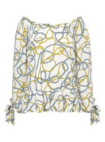 Multicoloured Coastal Rope Pattern Bardot Top