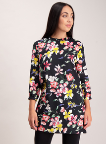 Black Floral High Neck Tunic
