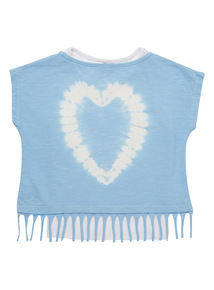 Blue Tie Dye Fringe Top And Vest Set (3 - 12 years)