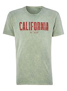 Green Acid Wash 'California' Slogan T-Shirt