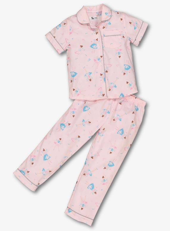 Kids Pink Ballet Print Woven Cotton Pyjamas (1-12 Years)  10af4e22d