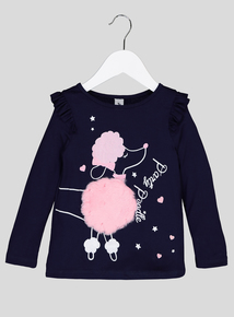 Navy 'Party Poodle' Long Sleeve Top (9 months - 5 years)