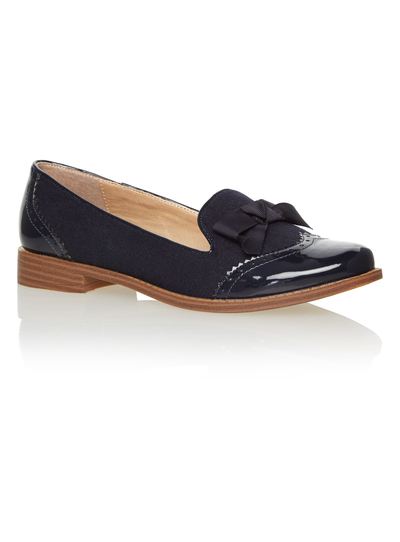 STYLE SLIPPER CUT BROGUE PATENT MICRO NAVY AW15
