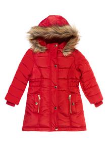 Girls Red Puffa Coat (3-16 years)