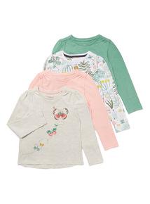 4 Pack Multicoloured Little Gardener Print Tops (9 months-6 years)
