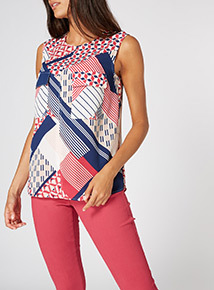 MultiColoured Pattern Shell Top