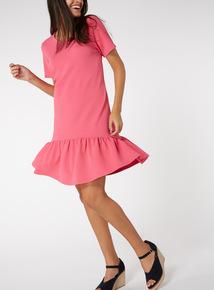 Pink Textured Frill Hem Dress