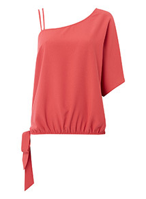 One Shoulder Tie Hem Top