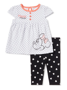 White Disney Minnie Mouse Dress and Leggings Set (0-24 months)