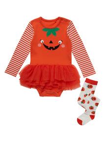 Orange Halloween Pumpkin Tutu Bodysuit (0-24 months)