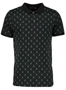 Navy And Green Christmas Tree Polo Shirt