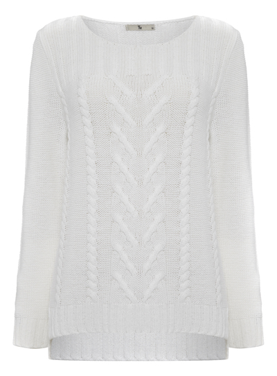 2222515ff671 Womens White Summer Cable Knitted Jumper