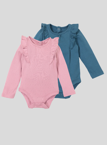 Long Sleeve Frill Bodysuits 2 Pack (0-24 months)