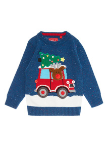 Blue Christmas Rudolph Truck Jumper (9 months-6 years)