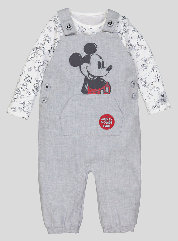 31f8471ef7ce Baby Disney Mickey Mouse Grey Dungaree Set (0-24 months)