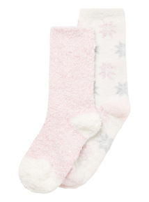 2 Pack Multicoloured Snowflake Fluffy Socks