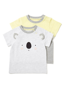 2 Pack Multicoloured Koala T-Shirts (0-24 months)