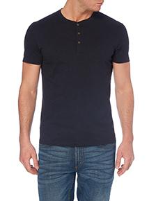 Navy Slub Grandad Collar T-shirt