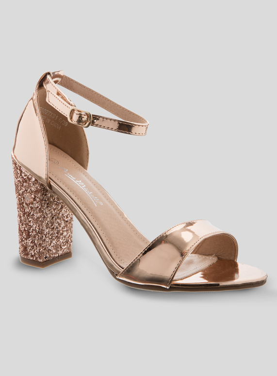 5d66dc880c7 Brands Online Exclusive Rose Gold Glitter Block Heel Sandals
