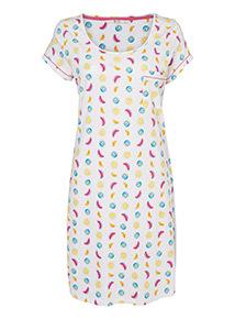 Multicoloured Fruit Print Nightdress