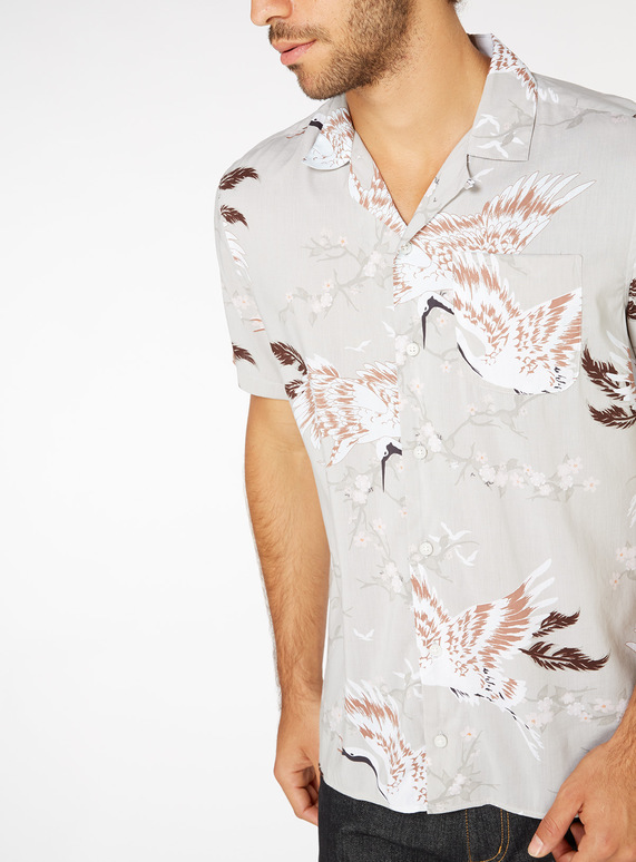 Regular Fit Stork Print Shirt