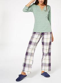 Henley Check and Lace Pyjama Set
