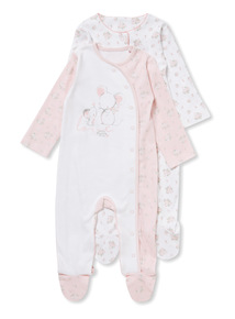 Pink and White Floral Sleepsuits (Newborn-12 months)