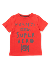 Red 'Mummy's Little Super Hero' T-Shirt (9 months-6 years)